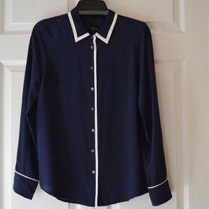 J Crew Navy Silk Tipped Boy Shirt
